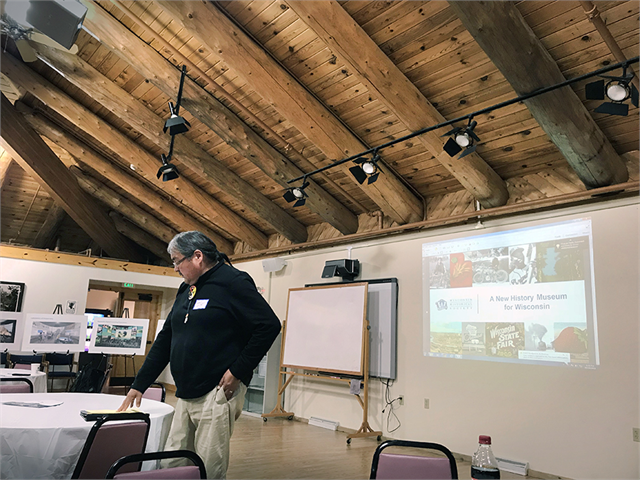David Grignon, a Menominee Nation member who has served as the Tribal Historic Preservation Officer for 27 years, helped coordinate the event, offered an opening blessing in Menominee, and gave remarks to begin the session.