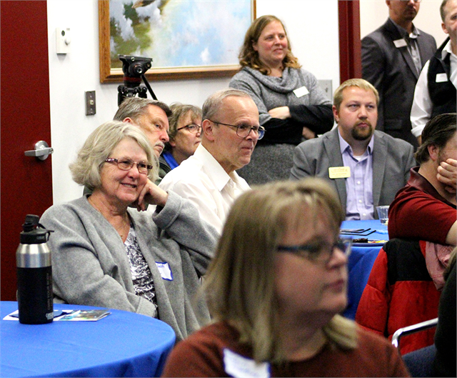"Guests enjoy a laugh during a discussion about favorite museum experiences during the Wisconsin Historical Society's first ""Share Your Voice"" session Oct. 1, 2018, at the Richard I. Bong Veterans History Center in Superior."