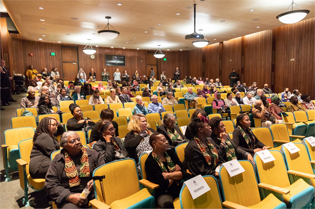 "Guests fill the auditorium of the Wisconsin Historical Society headquarters Feb. 19, 2019 for the ""Share Your Voice"" new museum public listening session, which was held in conjunction with the Society's Third Annual Black History Month Open House."