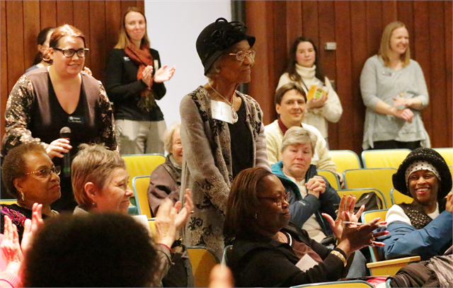 Dr. Fannie Hicklin, 100, the first African American professor at UW-Whitewater and the first black president of the Wisconsin Historical Society's Board of Curators, responds to a deferential request by offering her permission to proceed.
