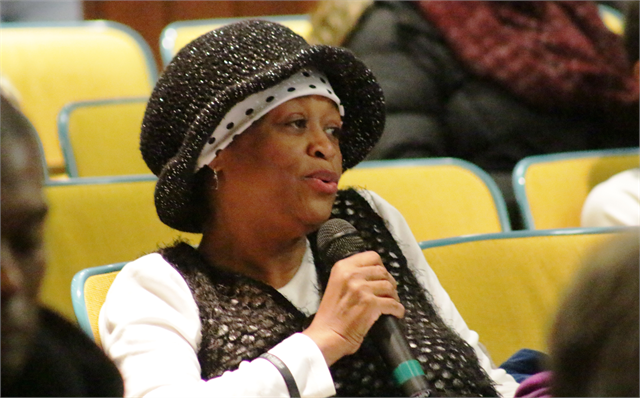 "A woman offers her thoughts during the Feb. 19, 2019 ""Share Your Voice"" session at the Society headquarters in Madison."