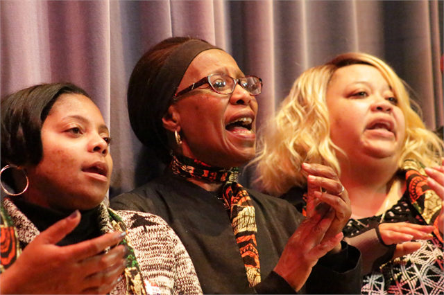 "Members of the women's choir from Mt. Zion Baptist Church in Madison entertain guests to close the Wisconsin Historical Society's ""Share Your Voice"" new museum listening session Feb. 19, 2019 at the Society headquarters in Madison."