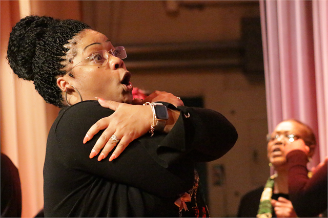 "Tamera Stanley, director of the women's choir at Mt. Zion Baptist Church in Madison, gestures while leading the choir's performance at the Society's ""Share Your Voice"" new museum listening session Feb. 19, 2019 at the Society headquarters."