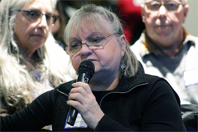 "A guest shares her thoughts about exhibits and storytelling in a planned new state history museum Feb. 19, 2019 during the Wisconsin Historical Society's ""Share Your Voice"" American Indian Engagement Session in Madison."