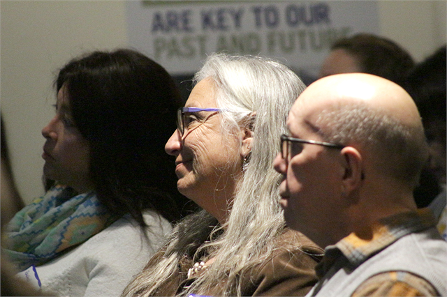 "Guests watch a video about the Wisconsin Historical Society's plans to build a new state history museum at the start of the Feb. 19, 2019 ""Share Your Voice"" American Indian Engagement Session at the current Wisconsin Historical Museum in Madison."