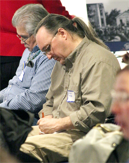 "Guests use Post-It notes to write down important ideas they feel should be included in a new state history museum during the Wisconsin Historical Society's ""Share Your Voice"" American Indian Engagement Session Feb. 19, 2019 in Madison."