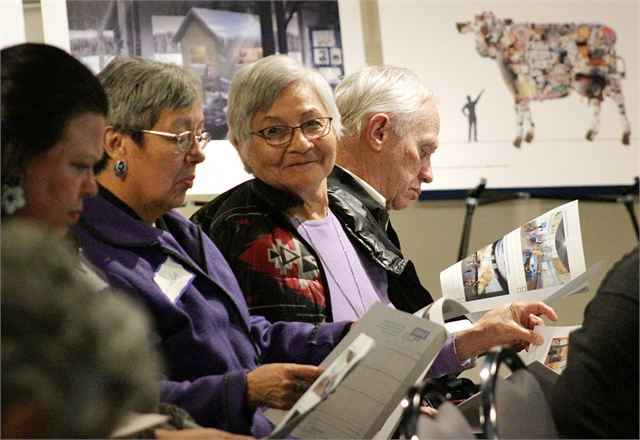 "Guests examine new museum exhibit design concept renderings during the Society's ""Share Your Voice"" American Indian Engagement Session Feb. 19, 2019 at the Wisconsin Historical Museum in Madison."