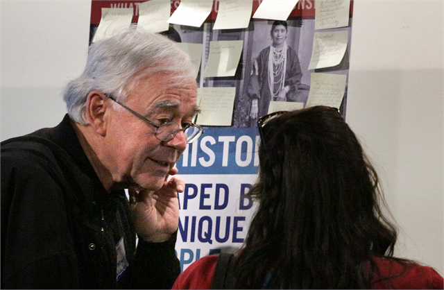 "Guests discuss new museum exhibit design concept renderings during the Society's ""Share Your Voice"" American Indian Engagement Session Feb. 19, 2019 at the Wisconsin Historical Museum in Madison."