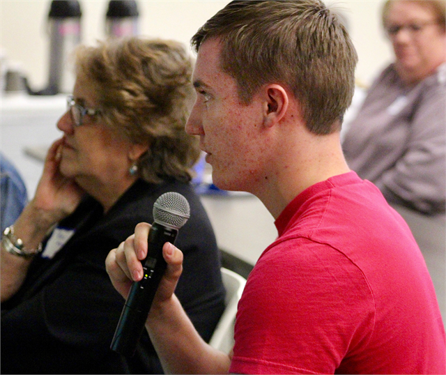 "A young guest offers his thoughts about the new museum project during the Wisconsin Historical Society's ""Share Your Voice"" listening session May 2, 2019 at the Platteville Public Library."