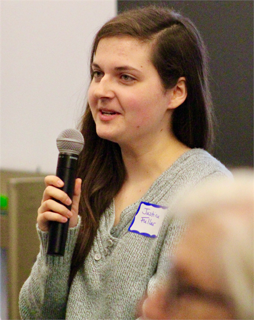 "A guest shares her thoughts about plans for a new museum during the Wisconsin Historical Society's ""Share Your Voice"" session May 2, 2019 at the Platteville Public Library."