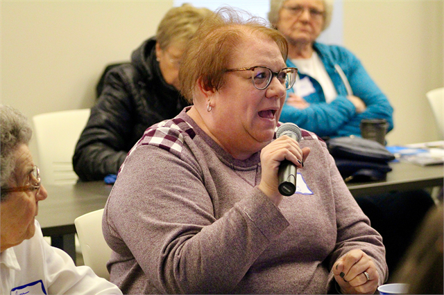 "A woman shares her thoughts about plans for a new museum during the Wisconsin Historical Society's ""Share Your Voice"" session May 2, 2019 at the Platteville Public Library."