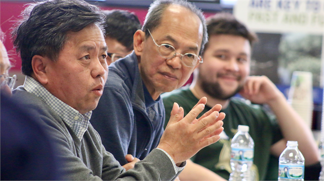 "Zongcheng Moua shares a personal story during the Society's ""Share Your Voice"" new museum multicultural listening session for the Milwaukee area's Asian American community May 15, 2019 at the Islamic Resource Center in Greenfield."