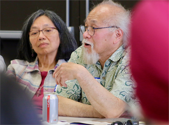 "Adrian Chan shares a story during the Wisconsin Historical Society's ""Share Your Voice"" new museum multicultural listening session May 15, 2019 in Greenfield."