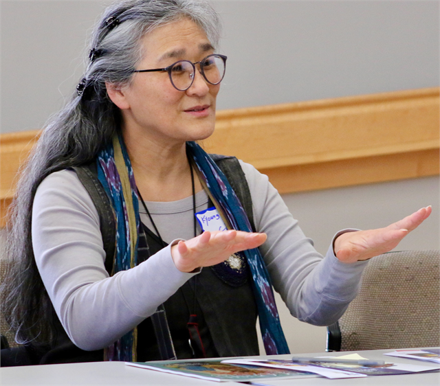 "Kyonng Ae Cho makes a comment during the ""Share Your Voice"" new museum multicultural listening session May 15, 2019 in Greenfield."