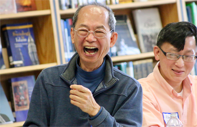 "Tony Lam enjoys a laugh as he tells a story of his time in Milwaukee during the Society's ""Share Your Voice"" new museum multicultural listening session May 15, 2019 in Greenfield."