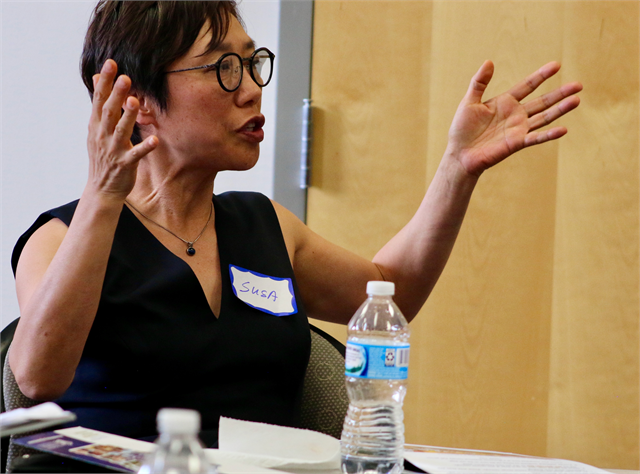 "Susa Sij makes a comment during the Wisconsin Historical Society's ""Share Your Voice"" new museum multicultural listening session May 15, 2019 in Greenfield."