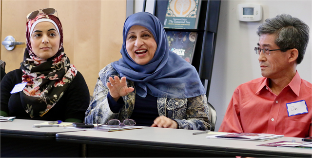 "Islamic Resource Center Director Janan Nanjeeb, center, shares an idea for a new Wisconsin history museum: ""It would be interesting to include stories of the route of some of the first immigrants who now have large families"" in Wisconsin,"" she said."