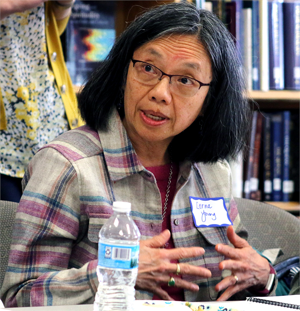 "Lorna Yang shares her thoughts during the Wisconsin Historical Society's ""Share Your Voice"" new museum multicultural listening session May 15, 2019 in Greenfield."