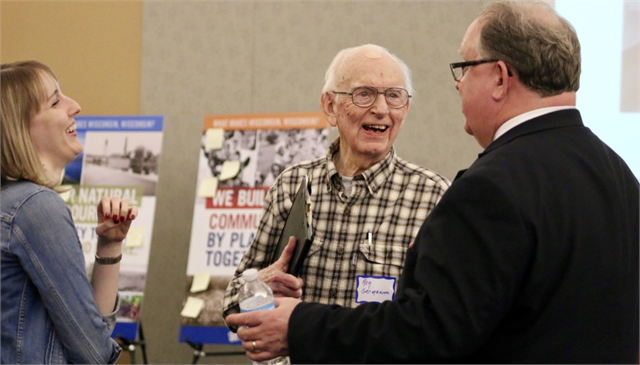 "Ken Germanson, president emeritus of the Wisconsin Labor History Society, enjoys a laugh with Wisconsin Historical Society Director Christian Øverland (right) and Kristen Leffelman of the Society during the ""Share Your Voice"" session in Kenosha."