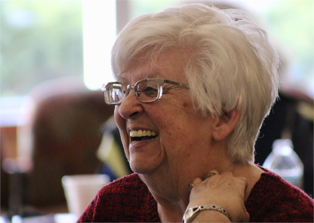 "Darlene Chiappetta enjoys a laugh during the Wisconsin Historical Society's ""Share Your Voice"" new museum listening session May 22, 2019 in Kenosha."