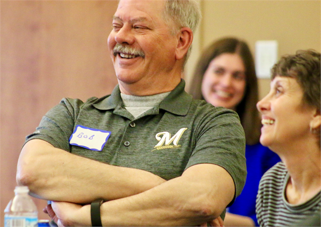 "Bob and Julie McGill enjoy a laugh during the Wisconsin Historical Society's ""Share Your Voice"" new museum listening session May 22, 2019 at the Civil War Museum in Kenosha."