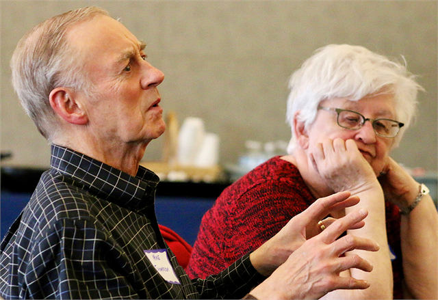 "Mike Thompson makes a comment as Darlene Chiappetta listens during the Wisconsin Historical Society's ""Share Your Voice"" new museum listening session May 22, 2019 at the Civil War Museum in Kenosha."