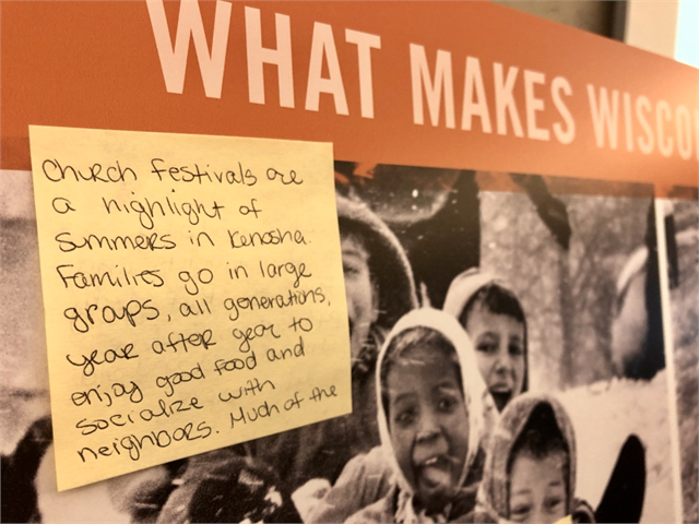 "Guests wrote thoughts about the Kenosha area and suggestions for museum exhibit ideas during the ""Share Your Voice"" listening session on May 22, 2019."