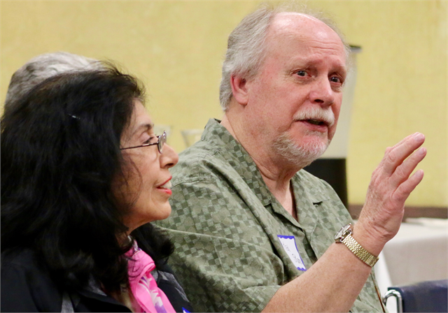 "Ken Skare shares his thoughts during a discussion at the Wisconsin Historical Society's ""Share Your Voice"" new museum multicultural listening session May 15, 2019 at the United Community Center in Milwaukee."