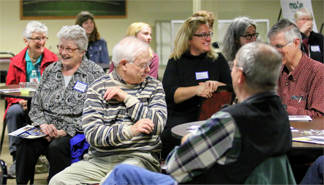 "Guests enjoy a laugh during the Wisconsin Historical Society's ""Share Your Voice"" new museum listening session June 10, 2019 at the Marathon County Historical Society's Woodson Center in Wausau."