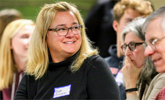 "Deb Bauman, an elementary school teacher in Wausau, enjoys a guests comment during the Wisconsin Historical Society's ""Share Your Voice"" new museum listening session June 10, 2019 at the Marathon County Historical Society's Woodson Center in Wausau."