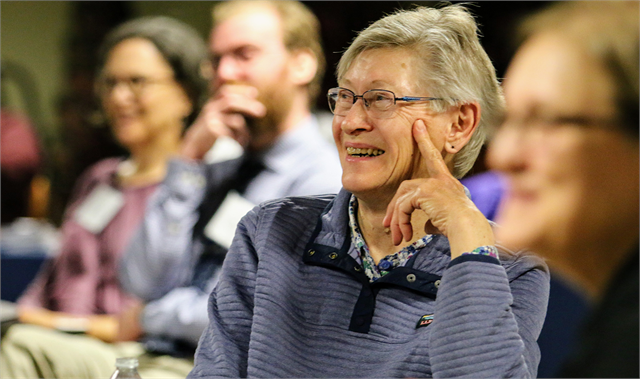 "Darlene Lee of Wausau enjoys a laugh with other guests at the ""Share Your Voice"" session June 10, 2019 in Wausau."