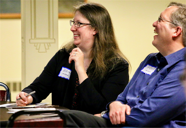 "Erin and Fred Heider enjoy a laugh during the Wisconsin Historical Society's ""Share Your Voice"" new museum listening session in Wausau."