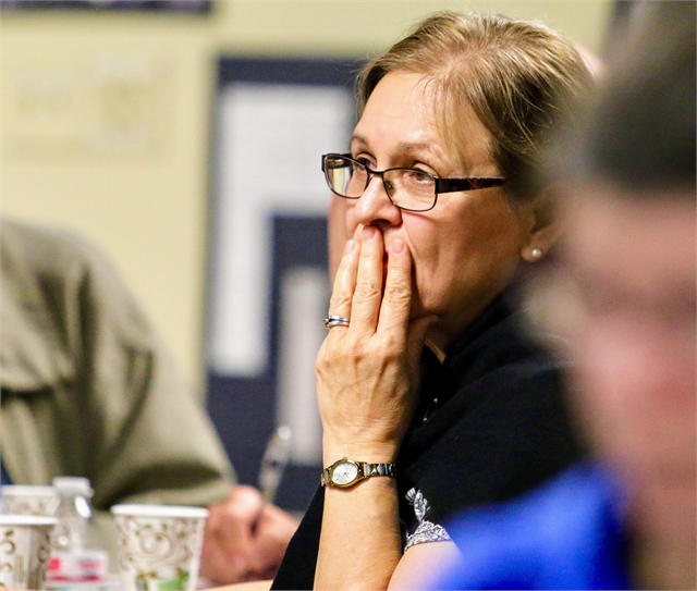 Sandra Maule pays close attention as Wisconsin Historical Society Director Christian Overland discusses potential exhibit concepts for a new state history museum during a listening session June 10, 2019 in Wausau.