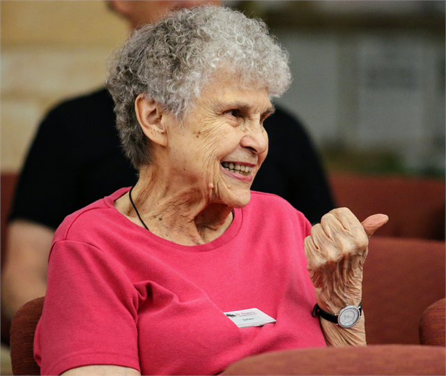 "Barbara Janiszewski, treasurer of the St. Francis Historical Society, laughs as she makes a comment during the Wisconsin Historical Society's ""Share Your Voice"" new museum listening session June 27, 2019 in St. Francis."