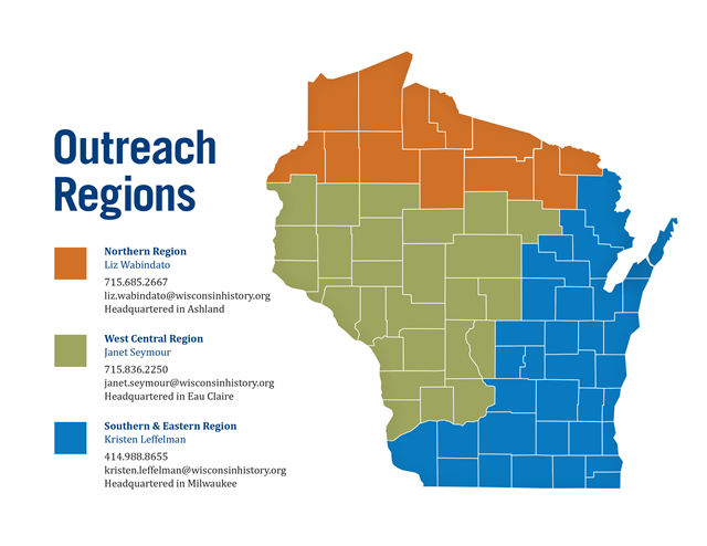 Map of three service regions for Local History Outreach with contact information