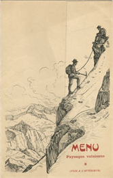 "Folded menu from the Hotel Müller, with hikers on the die-cut flap, ascending a mountain, and mountains and sky on the panel beneath. The drawings are signed, ""Francois Gos fils Claseur(?)""."