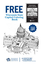 Poster advertising cover of the Wisconsin State Capitol Coloring Book