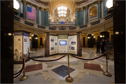 Photograph of WHS Capitol centennial exhibit in the Wisconsin State Capitol rotunda