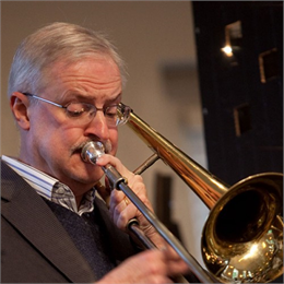 Photo of author Kurt Dietrich playing trumpet