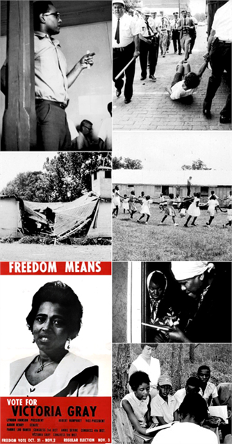 Historic images of voter regisration, Freedom Schools and violence in Mississippi during Freedom Summer 1964.