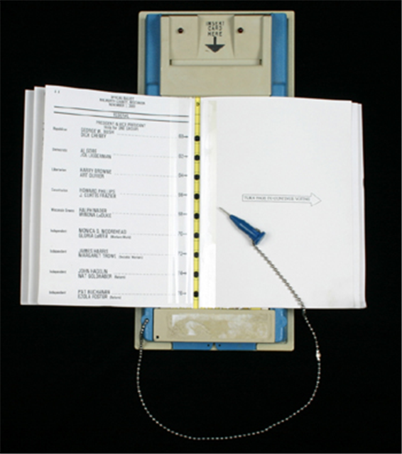 Punch card voting device