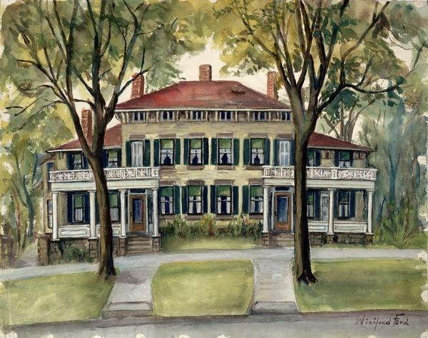 Watercolor painting of an exterior front view of a two story house with double porches, 20 visible windows, trees with green leaves, green grass, sidewalks and the front yard.