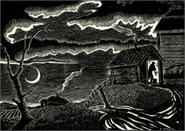 Farmer in an outbuilding in a moonlit rural scene.