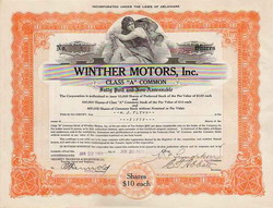 Orange stock certificate for Winther Motors, Inc. Class 'A' Common.