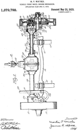 Technical drawing of a front wheel driving mechanism motor part with patent number and signatures.