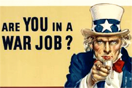 Uncle Sam is pointing toward the audience. Poster reads: Are you in a war job? If not, see the U.S. Employment Service.