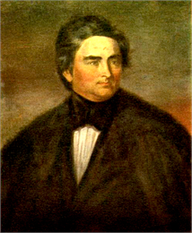 A detail of a full-length portrait of Henry Dodge in formal suit and fur coat.