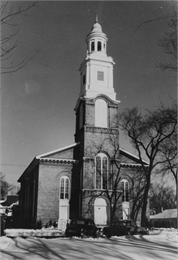 Exterior view of First Congregational Church in winter.