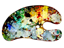 Painter's palette with many colors of oil paint.
