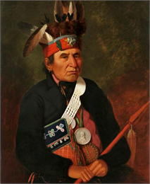 Portrait painting of Chief Souligny wearing a James Madison Peace Medal.